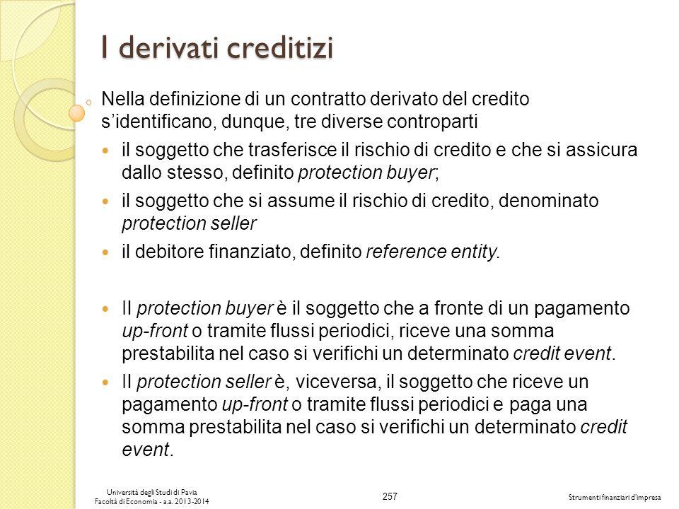 257 Università degli Studi di Pavia Facoltà di Economia - a.a. 2013-2014 Strumenti finanziari dimpresa I derivati creditizi Nella definizione di un co