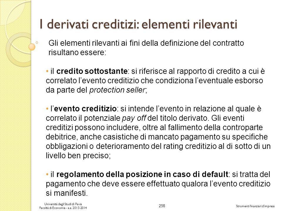 258 Università degli Studi di Pavia Facoltà di Economia - a.a. 2013-2014 Strumenti finanziari dimpresa I derivati creditizi: elementi rilevanti Gli el