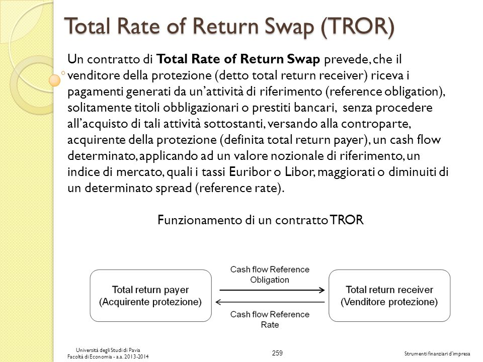 259 Università degli Studi di Pavia Facoltà di Economia - a.a. 2013-2014 Strumenti finanziari dimpresa Total Rate of Return Swap (TROR) Un contratto d