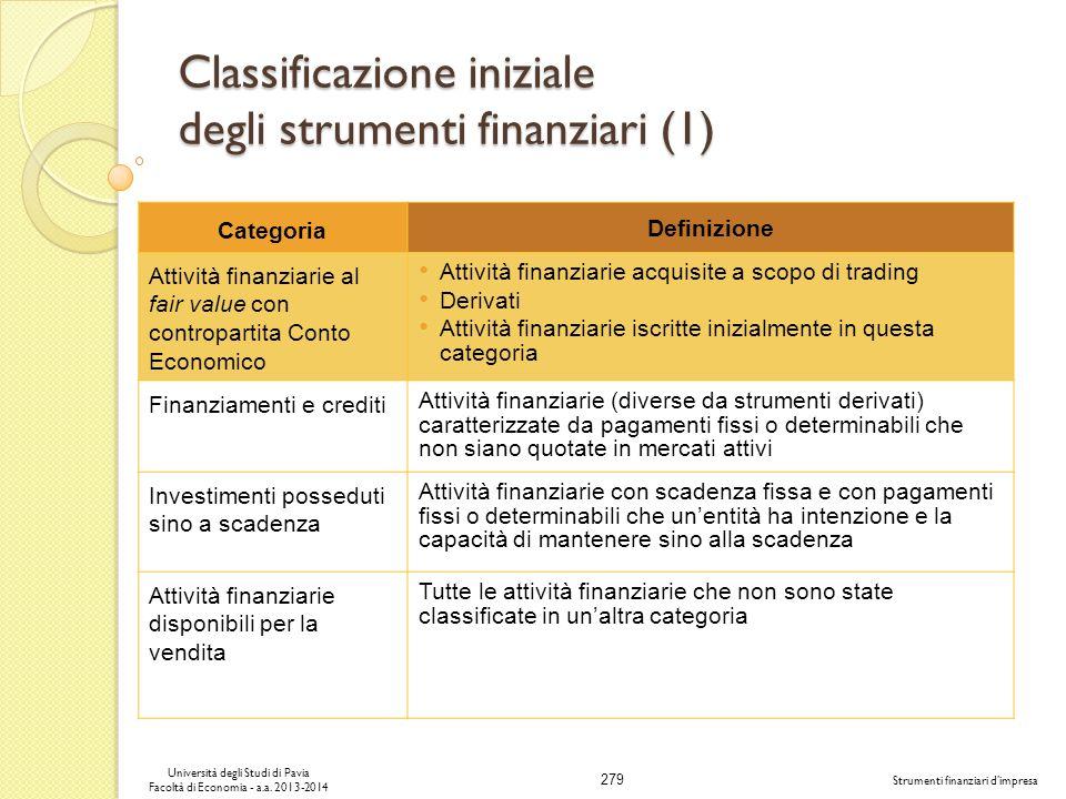 279 Università degli Studi di Pavia Facoltà di Economia - a.a. 2013-2014 Strumenti finanziari dimpresa Classificazione iniziale degli strumenti finanz