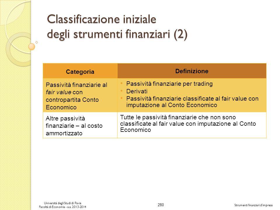 280 Università degli Studi di Pavia Facoltà di Economia - a.a. 2013-2014 Strumenti finanziari dimpresa Classificazione iniziale degli strumenti finanz