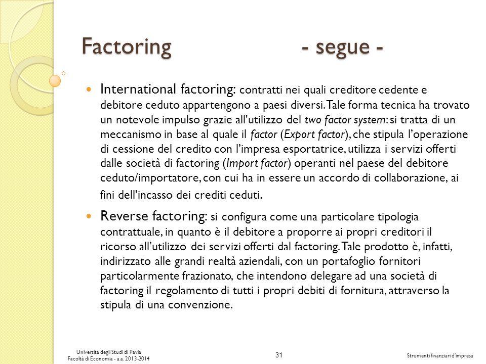 31 Università degli Studi di Pavia Facoltà di Economia - a.a. 2013-2014 Strumenti finanziari dimpresa Factoring - segue - International factoring: con