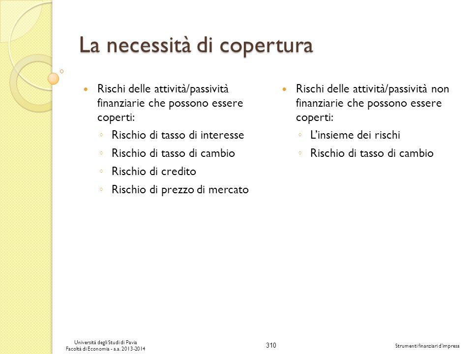 310 Università degli Studi di Pavia Facoltà di Economia - a.a. 2013-2014 Strumenti finanziari dimpresa La necessità di copertura Rischi delle attività