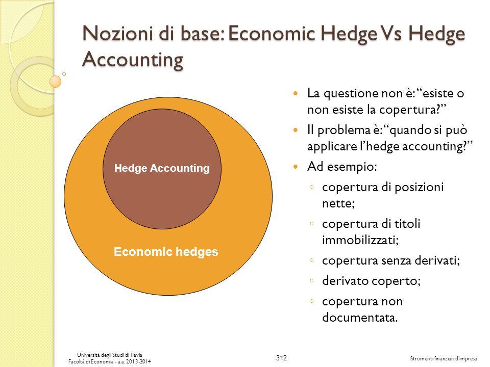312 Università degli Studi di Pavia Facoltà di Economia - a.a. 2013-2014 Strumenti finanziari dimpresa Nozioni di base: Economic Hedge Vs Hedge Accoun