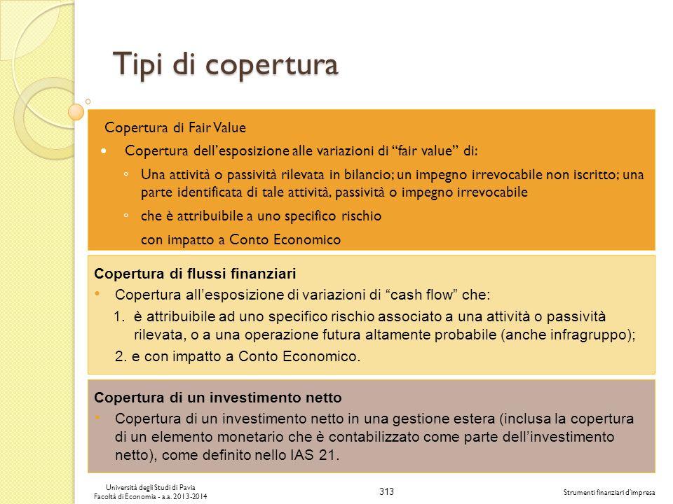 313 Università degli Studi di Pavia Facoltà di Economia - a.a. 2013-2014 Strumenti finanziari dimpresa Tipi di copertura Copertura di Fair Value Coper