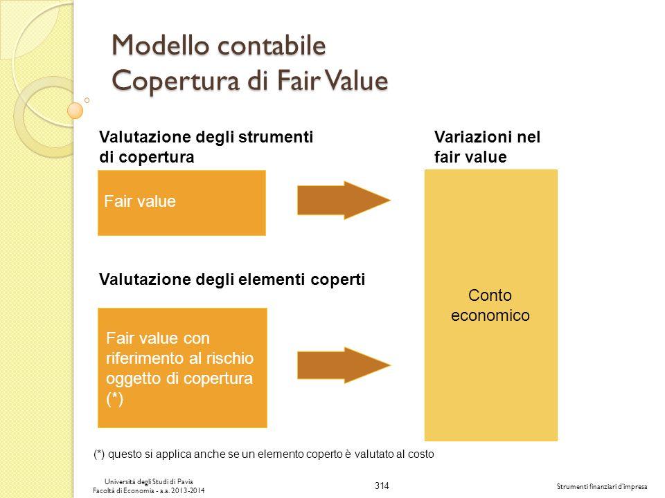 314 Università degli Studi di Pavia Facoltà di Economia - a.a. 2013-2014 Strumenti finanziari dimpresa Modello contabile Copertura di Fair Value Fair