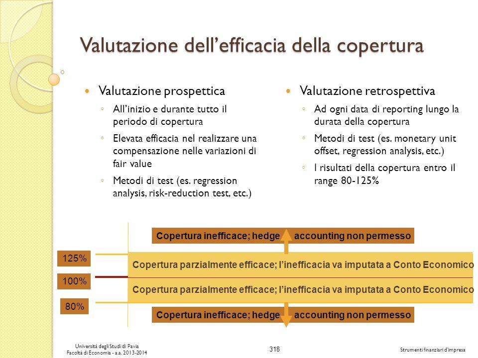 318 Università degli Studi di Pavia Facoltà di Economia - a.a. 2013-2014 Strumenti finanziari dimpresa Valutazione dellefficacia della copertura Valut