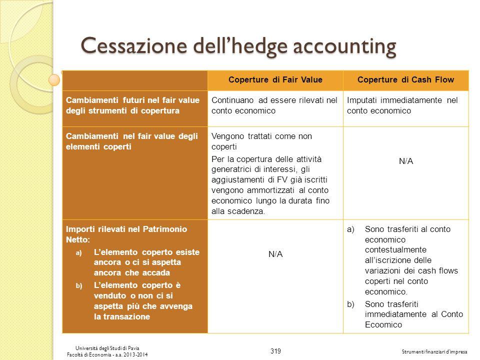 319 Università degli Studi di Pavia Facoltà di Economia - a.a. 2013-2014 Strumenti finanziari dimpresa Cessazione dellhedge accounting Coperture di Fa
