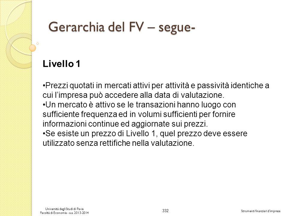 332 Università degli Studi di Pavia Facoltà di Economia - a.a. 2013-2014 Strumenti finanziari dimpresa Gerarchia del FV – segue- Livello 1 Prezzi quot
