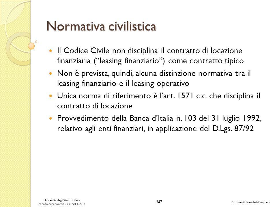 347 Università degli Studi di Pavia Facoltà di Economia - a.a. 2013-2014 Strumenti finanziari dimpresa Normativa civilistica Il Codice Civile non disc