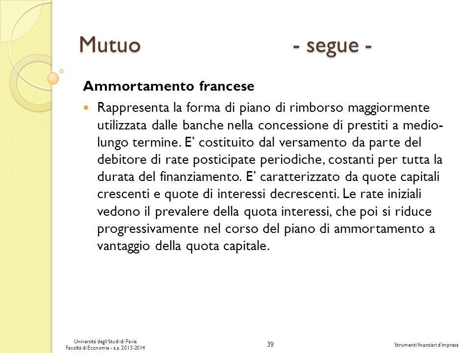 39 Università degli Studi di Pavia Facoltà di Economia - a.a. 2013-2014 Strumenti finanziari dimpresa Mutuo - segue - Ammortamento francese Rappresent