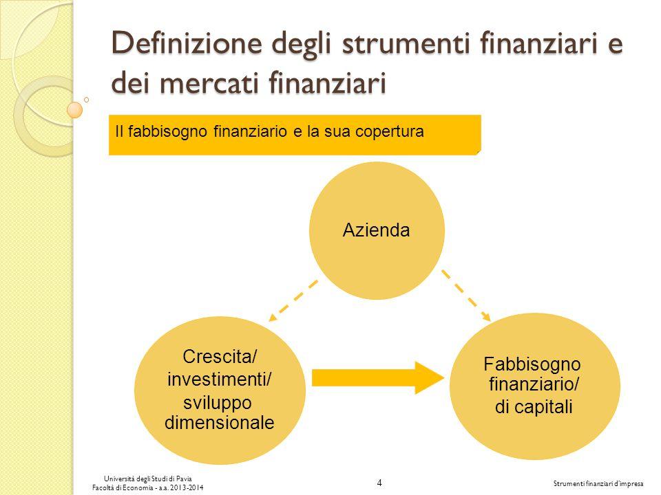 4 Università degli Studi di Pavia Facoltà di Economia - a.a. 2013-2014 Strumenti finanziari dimpresa Definizione degli strumenti finanziari e dei merc