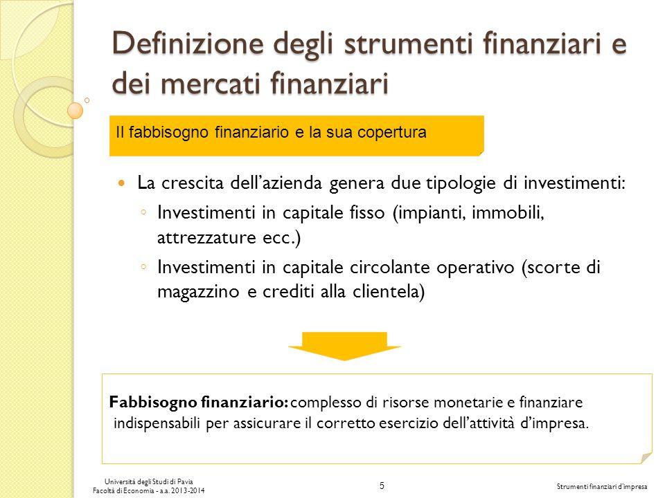 5 Università degli Studi di Pavia Facoltà di Economia - a.a. 2013-2014 Strumenti finanziari dimpresa Definizione degli strumenti finanziari e dei merc