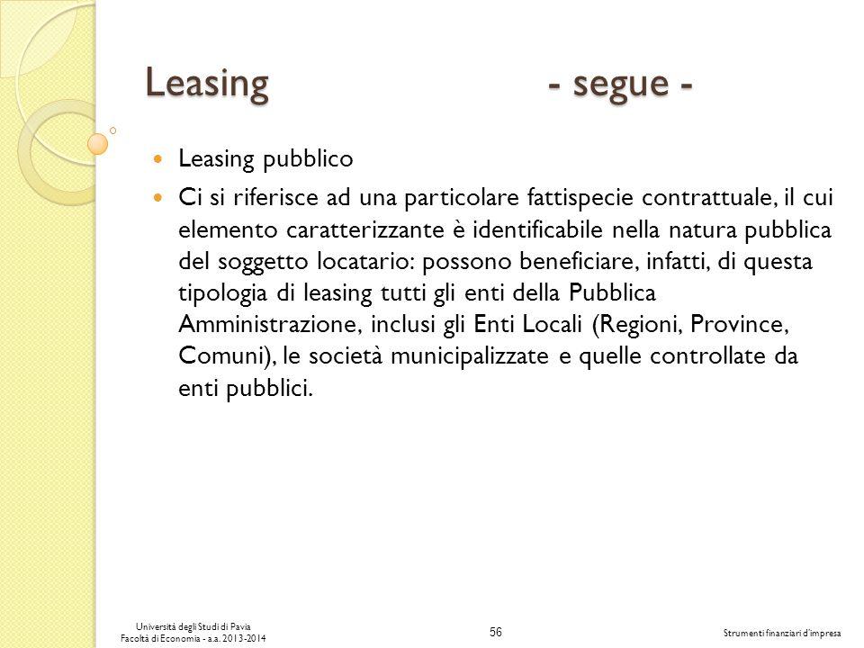 56 Università degli Studi di Pavia Facoltà di Economia - a.a. 2013-2014 Strumenti finanziari dimpresa Leasing - segue - Leasing pubblico Ci si riferis