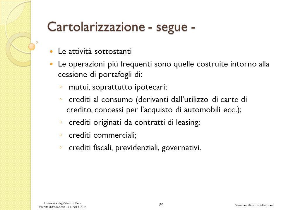 89 Università degli Studi di Pavia Facoltà di Economia - a.a. 2013-2014 Strumenti finanziari dimpresa Cartolarizzazione - segue - Le attività sottosta