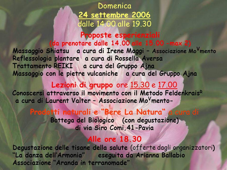 Domenica 24 settembre 2006 dalle 14.00 alle 19.30 Proposte esperienziali (da prenotare dalle 14.00 alle 15.00 -max 2) Massaggio Shiatsu a cura di Iren