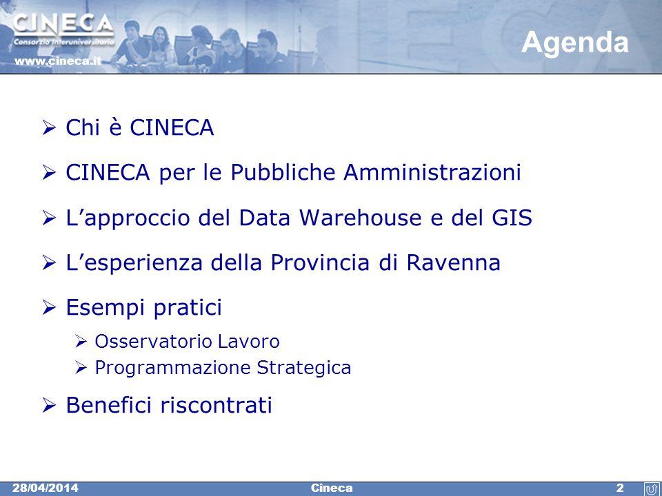 www.cineca.it 228/04/2014Cineca Agenda Chi è CINECA CINECA per le Pubbliche Amministrazioni Lapproccio del Data Warehouse e del GIS Lesperienza della