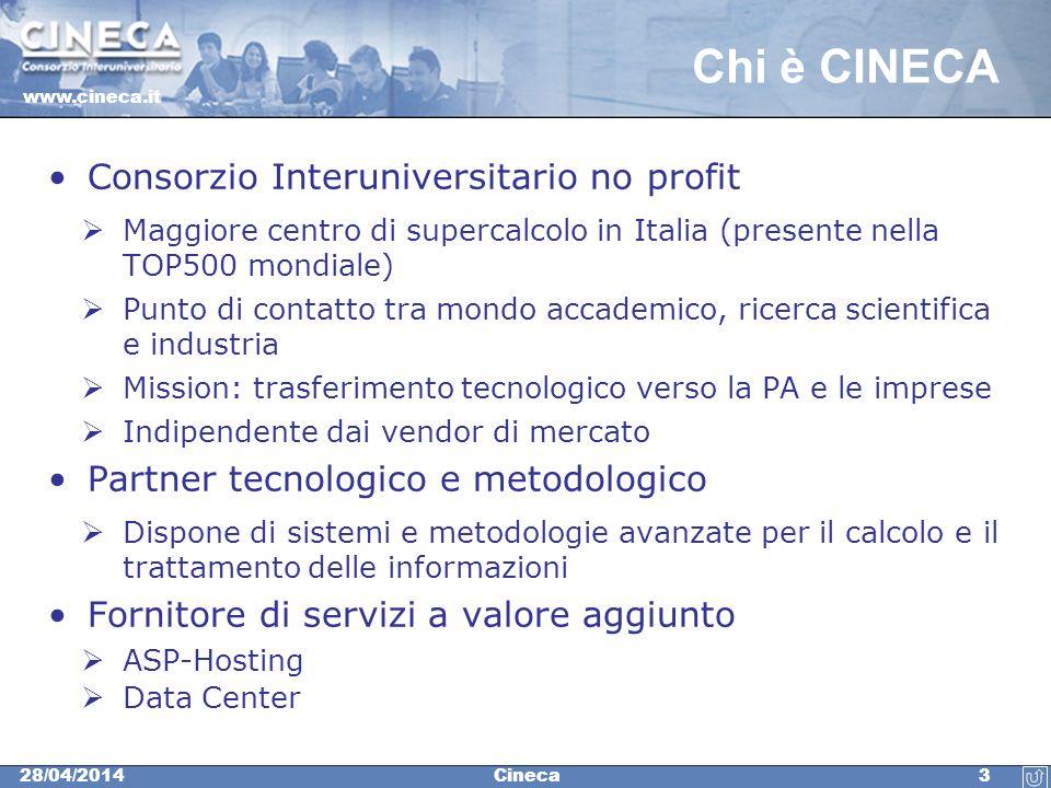 www.cineca.it 428/04/2014Cineca CINECA per le PA CINECA ha messo a punto una piattaforma di analisi statistica che permette alle Pubbliche Amministrazioni di sviluppare gli osservatori tematici sugli ambiti di proprio interesse (scuola, turismo, demografia, ecc.).