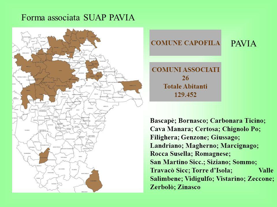 COMUNE CAPOFILA Forma associata SUAP PAVIA COMUNI ASSOCIATI 26 Totale Abitanti 129.452 PAVIA Bascapè; Bornasco; Carbonara Ticino; Cava Manara; Certosa