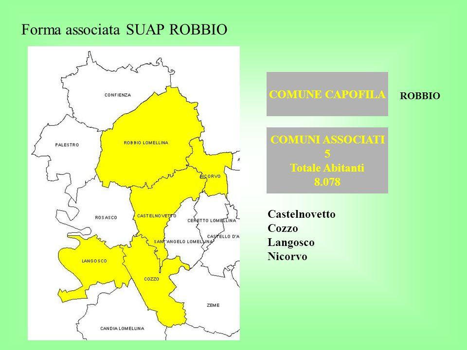 COMUNE CAPOFILA Forma associata SUAP ROBBIO COMUNI ASSOCIATI 5 Totale Abitanti 8.078 ROBBIO Castelnovetto Cozzo Langosco Nicorvo