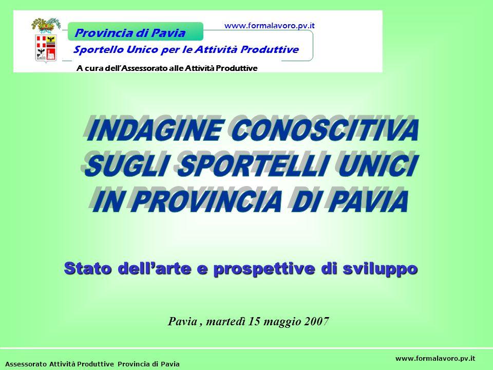 Stato dellarte e prospettive di sviluppo Assessorato Attività Produttive Provincia di Pavia www.formalavoro.pv.it Sportello Unico per le Attività Prod