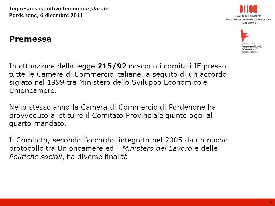 Impresa: sostantivo femminile plurale Pordenone, 6 dicembre 2011 2 In attuazione della legge 215/92 nascono i comitati IF presso tutte le Camere di Commercio italiane, a seguito di un accordo siglato nel 1999 tra Ministero dello Sviluppo Economico e Unioncamere.