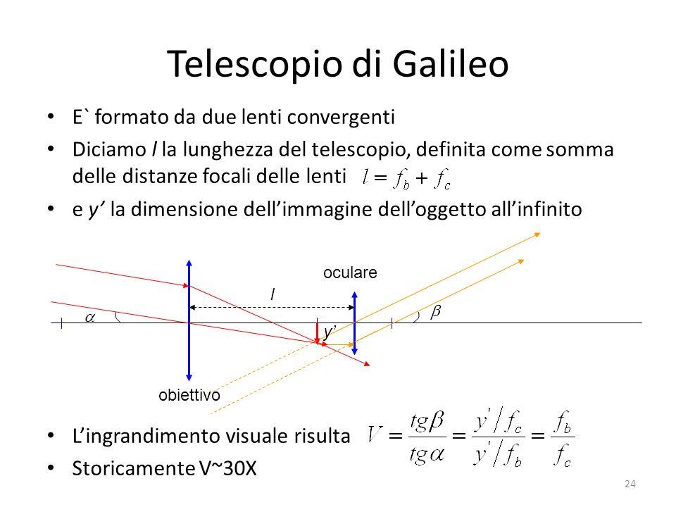 Telescopio di Galileo E` formato da due lenti convergenti Diciamo l la lunghezza del telescopio, definita come somma delle distanze focali delle lenti