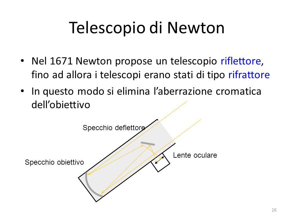 Telescopio di Newton Nel 1671 Newton propose un telescopio riflettore, fino ad allora i telescopi erano stati di tipo rifrattore In questo modo si eli