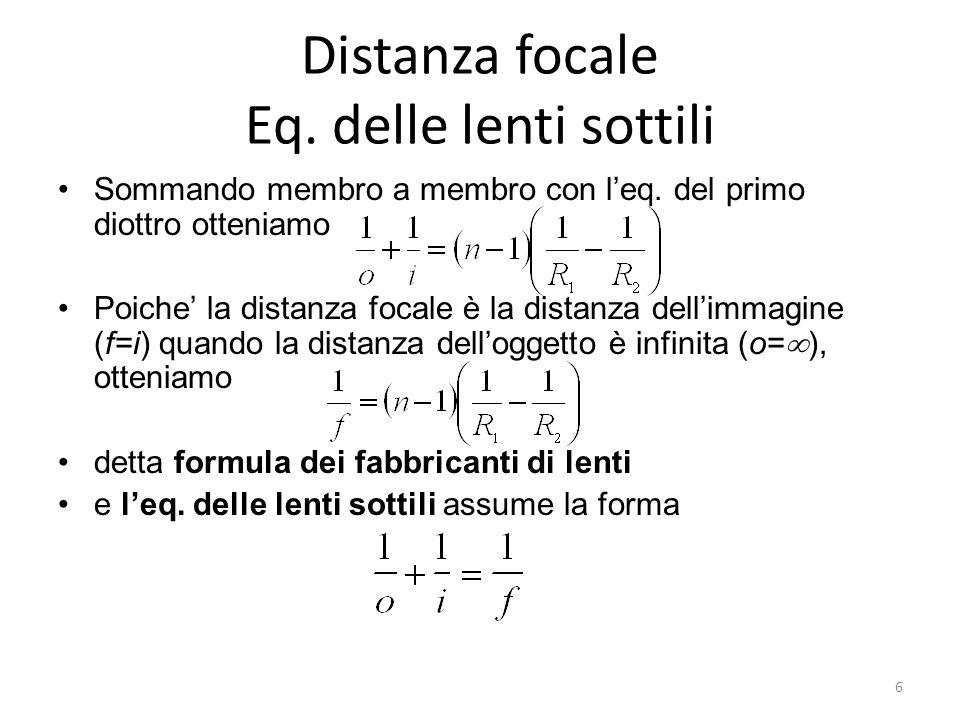 Distanza focale Eq. delle lenti sottili Sommando membro a membro con leq. del primo diottro otteniamo Poiche la distanza focale è la distanza dellimma