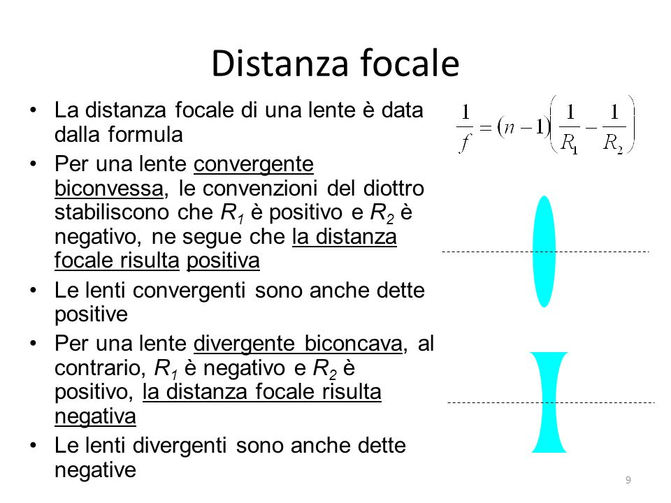 Distanza focale La distanza focale di una lente è data dalla formula Per una lente convergente biconvessa, le convenzioni del diottro stabiliscono che