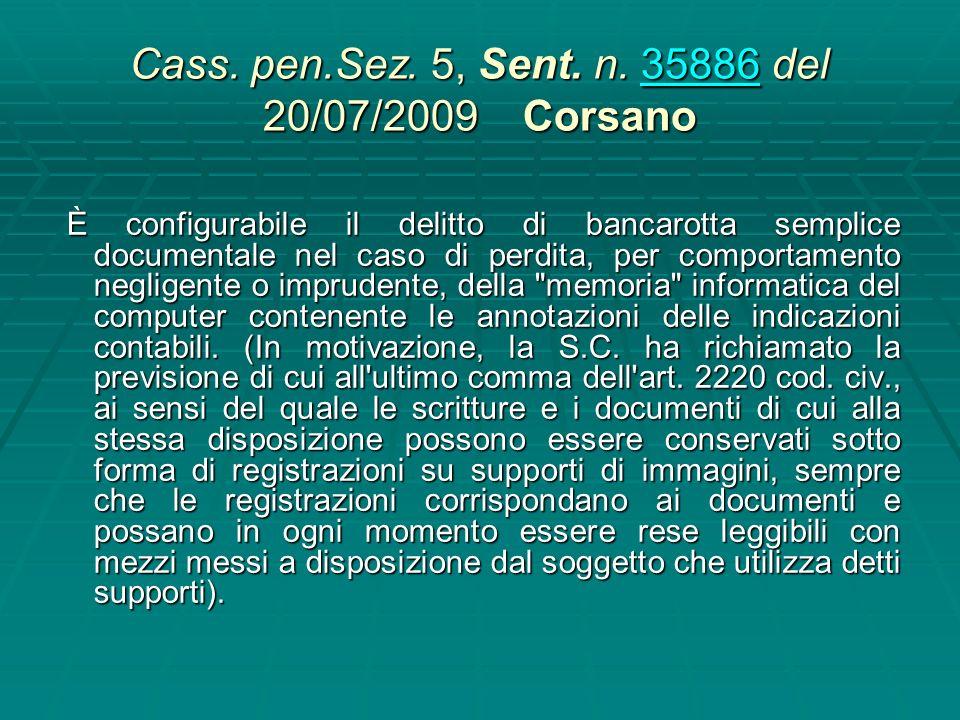 Cass. pen. Sez. 5, n. 42618 del 24/09/2004 Lubrano 42618 Sussiste il reato previsto dagli artt. 220 e 16, comma secondo n. 3 legge fall. qualora, entr