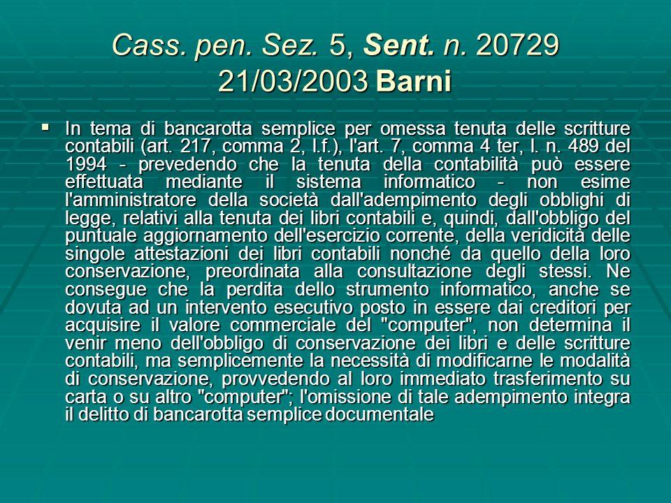 Cass. pen.Sez. 5, Sent. n. 35886 del 20/07/2009 Corsano 35886 È configurabile il delitto di bancarotta semplice documentale nel caso di perdita, per c