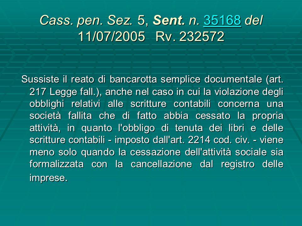 Cass. pen. Sez. 5, Sent. n. 20729 21/03/2003 Barni In tema di bancarotta semplice per omessa tenuta delle scritture contabili (art. 217, comma 2, l.f.