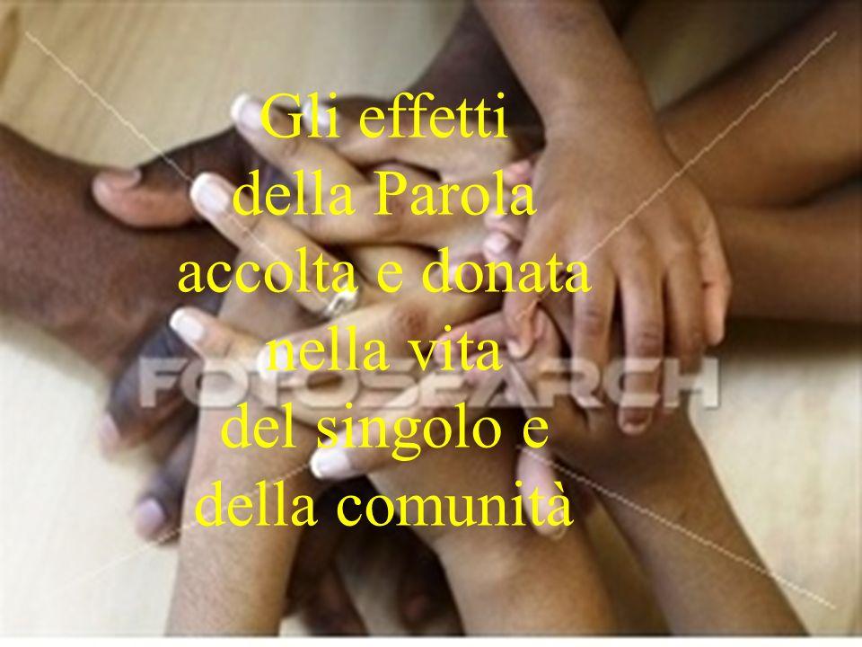 Gli effetti della Parola accolta e donata nella vita del singolo e della comunità