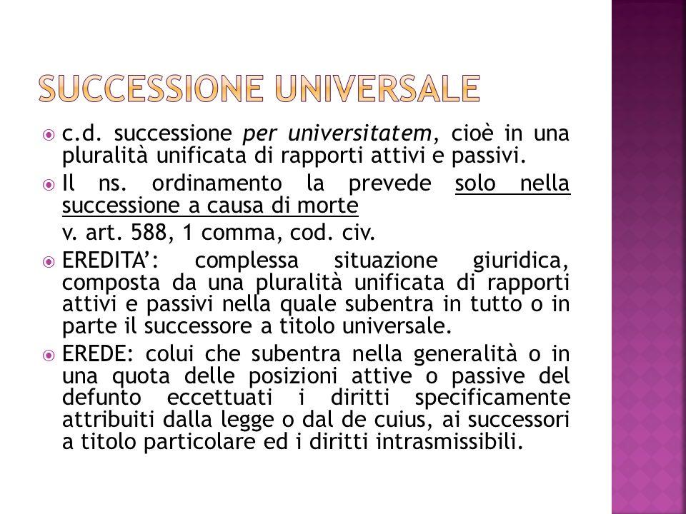 c.d. successione per universitatem, cioè in una pluralità unificata di rapporti attivi e passivi. Il ns. ordinamento la prevede solo nella successione