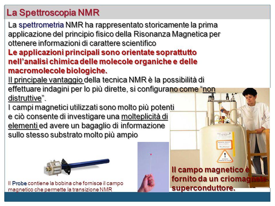 La spettrometria NMR ha rappresentato storicamente la prima applicazione del principio fisico della Risonanza Magnetica per ottenere informazioni di c