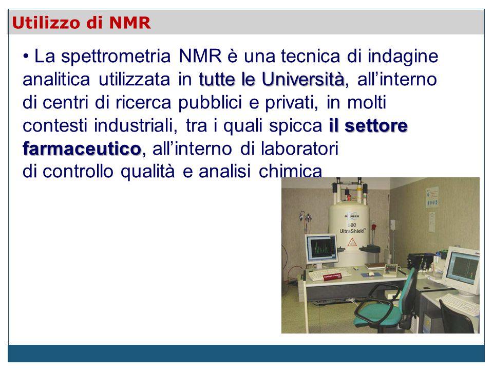 tutte le Università il settore farmaceutico La spettrometria NMR è una tecnica di indagine analitica utilizzata in tutte le Università, allinterno di