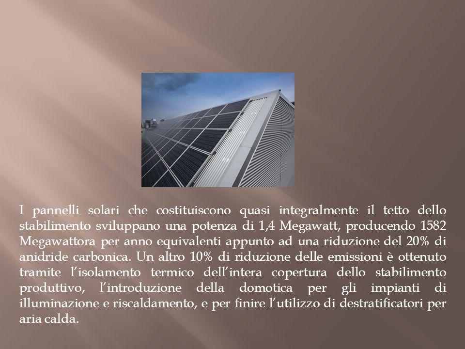 I pannelli solari che costituiscono quasi integralmente il tetto dello stabilimento sviluppano una potenza di 1,4 Megawatt, producendo 1582 Megawattor