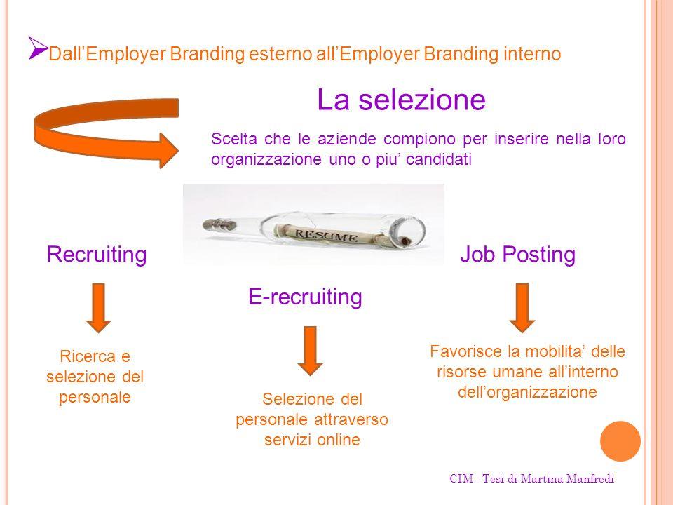 La selezione Scelta che le aziende compiono per inserire nella loro organizzazione uno o piu candidati DallEmployer Branding esterno allEmployer Brand