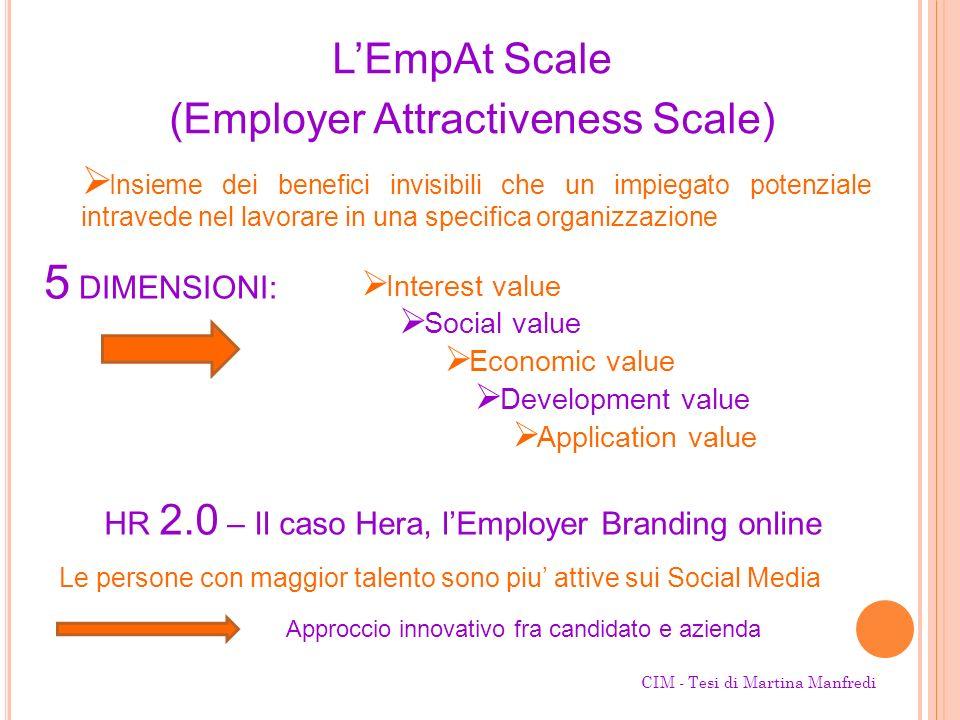 LEmpAt Scale (Employer Attractiveness Scale) Insieme dei benefici invisibili che un impiegato potenziale intravede nel lavorare in una specifica organ