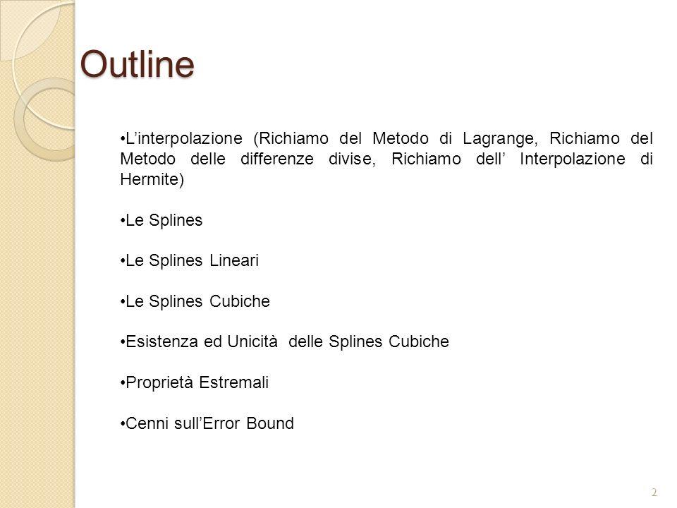 Outline Linterpolazione (Richiamo del Metodo di Lagrange, Richiamo del Metodo delle differenze divise, Richiamo dell Interpolazione di Hermite) Le Spl