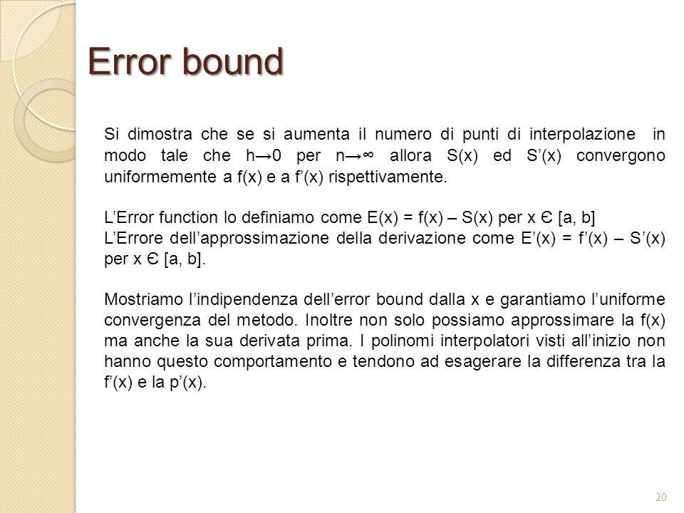 Error bound Si dimostra che se si aumenta il numero di punti di interpolazione in modo tale che h0 per n allora S(x) ed S(x) convergono uniformemente