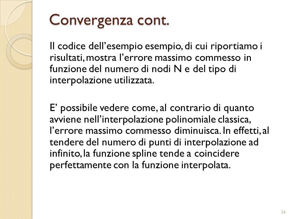 Convergenza cont. Il codice dellesempio esempio, di cui riportiamo i risultati, mostra lerrore massimo commesso in funzione del numero di nodi N e del