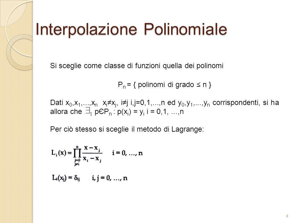 Interpolazione Polinomiale Si sceglie come classe di funzioni quella dei polinomi P n = { polinomi di grado n } Dati x 0,x 1,...,x n x i x j, ij i,j=0
