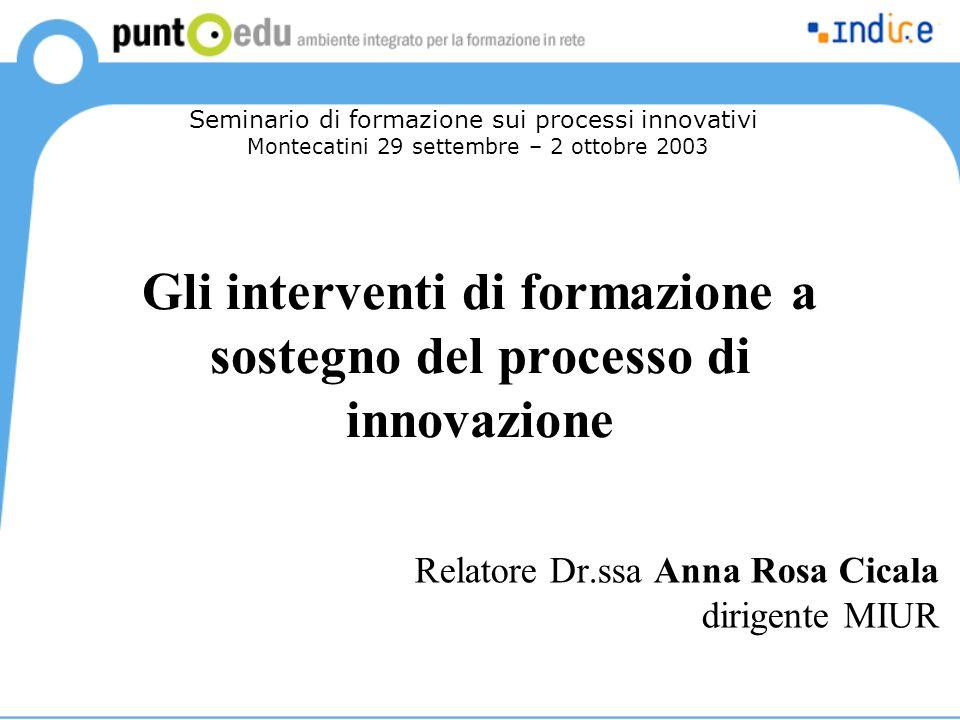 Gli interventi di formazione a sostegno del processo di innovazione Relatore Dr.ssa Anna Rosa Cicala dirigente MIUR Seminario di formazione sui processi innovativi Montecatini 29 settembre – 2 ottobre 2003
