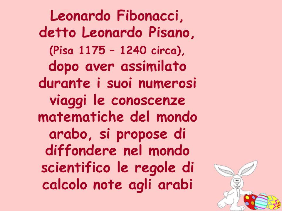 Leonardo Fibonacci, detto Leonardo Pisano, (Pisa 1175 – 1240 circa), dopo aver assimilato durante i suoi numerosi viaggi le conoscenze matematiche del