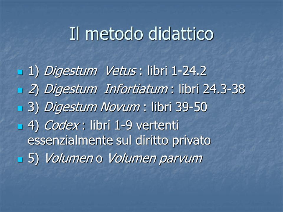 Il metodo didattico 1) Digestum Vetus : libri 1-24.2 1) Digestum Vetus : libri 1-24.2 2) Digestum Infortiatum : libri 24.3-38 2) Digestum Infortiatum