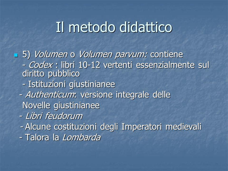 Il metodo didattico 5) Volumen o Volumen parvum: contiene 5) Volumen o Volumen parvum: contiene - Codex : libri 10-12 vertenti essenzialmente sul diri