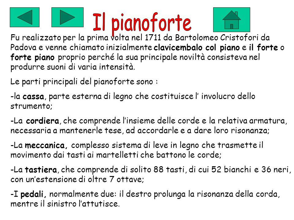 Fu realizzato per la prima volta nel 1711 da Bartolomeo Cristofori da Padova e venne chiamato inizialmente clavicembalo col piano e il forte o forte piano proprio perché la sua principale noviltà consisteva nel produrre suoni di varia intensità.