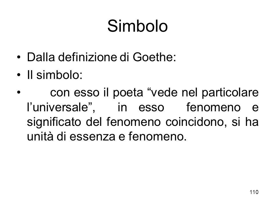 110 Simbolo Dalla definizione di Goethe: Il simbolo: con esso il poeta vede nel particolare luniversale, in esso fenomeno e significato del fenomeno c